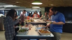 Employees enjoying Buffalo Wild Wings for Free Lunch Friday (FLF)